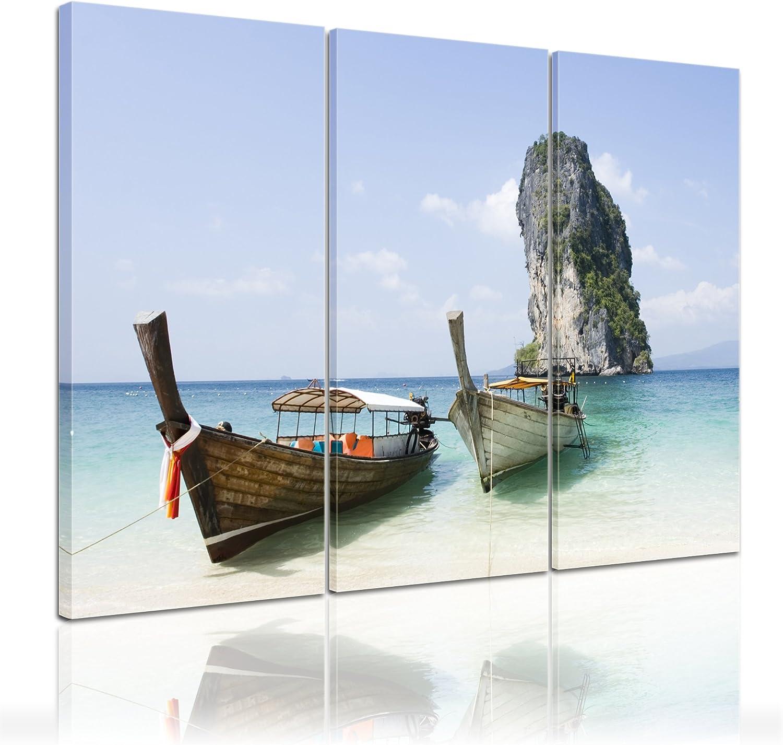 Bilderdepot24 Bastidor Imagen - Cuadros en Lienzo Barco de Pesca (Tailandia) 150x90cm 3 Partes. - Made in Germany!: Amazon.es: Hogar