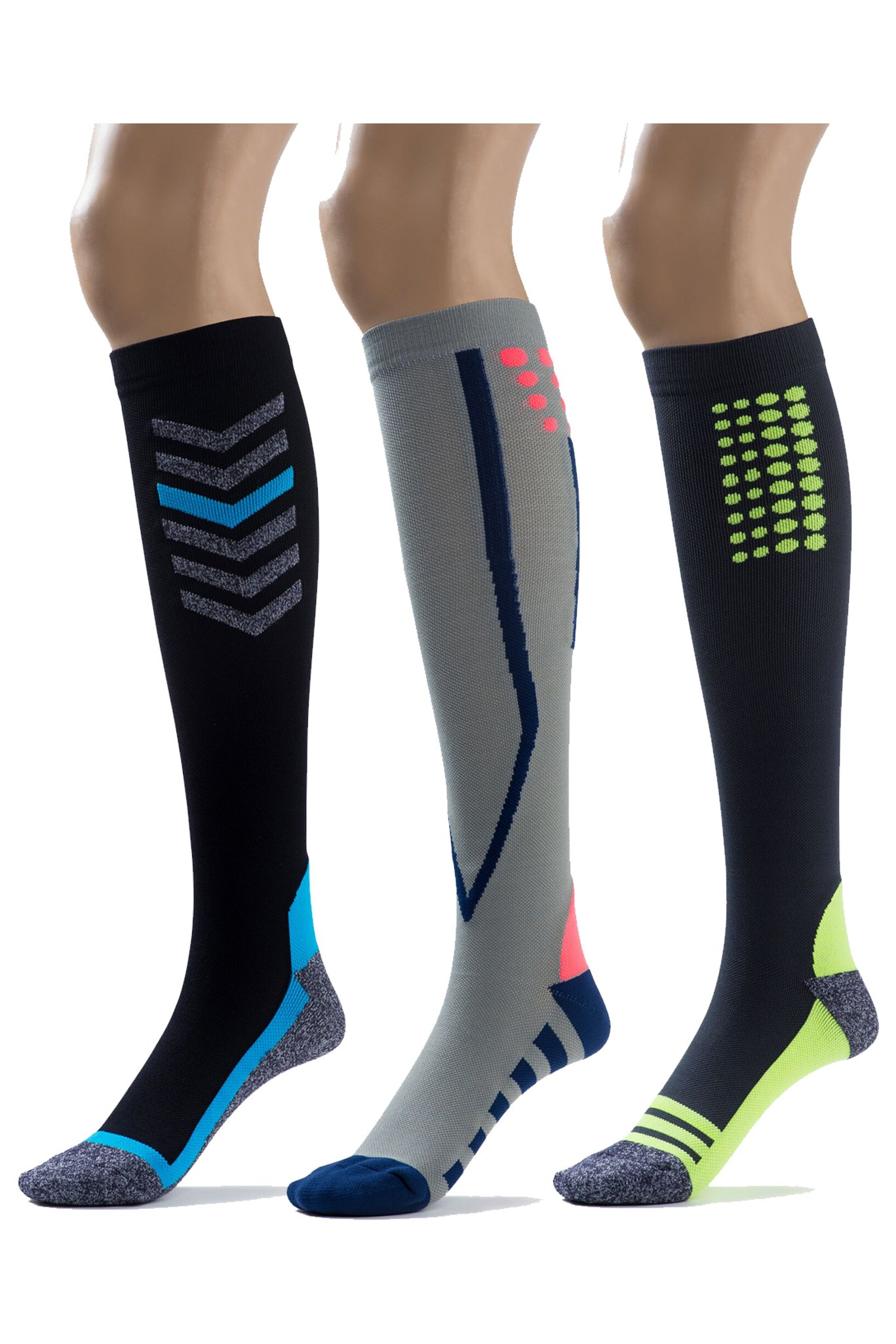 Silky Toes Compression Socks for Men & Women (20-30 mmHg) Athletic Fit for Running, Nurses, Shin Splints, Flight Travel & Maternity Pregnancy (Multi Pack- Grey/Blue/Black, Medium) by Silky Toes (Image #1)