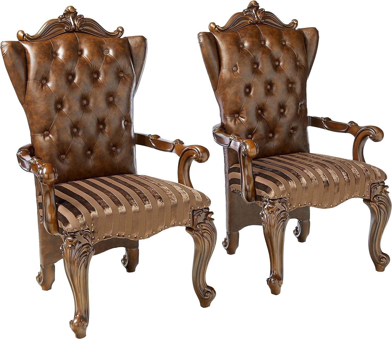 ACME Versailles 2-Tone Light Brown Arm Chair Set of 2