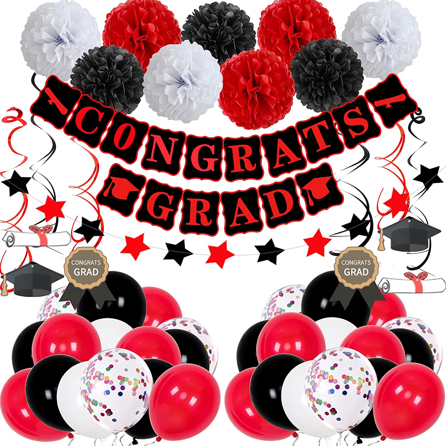 Graduation Decorations, Graduation Party Decorations 2021 Red and Black Congrats Grad Banner Paper Pompoms Hanging Swirls Balloons Kit Photo Backdrop for High School College Graduation Decor Supplies