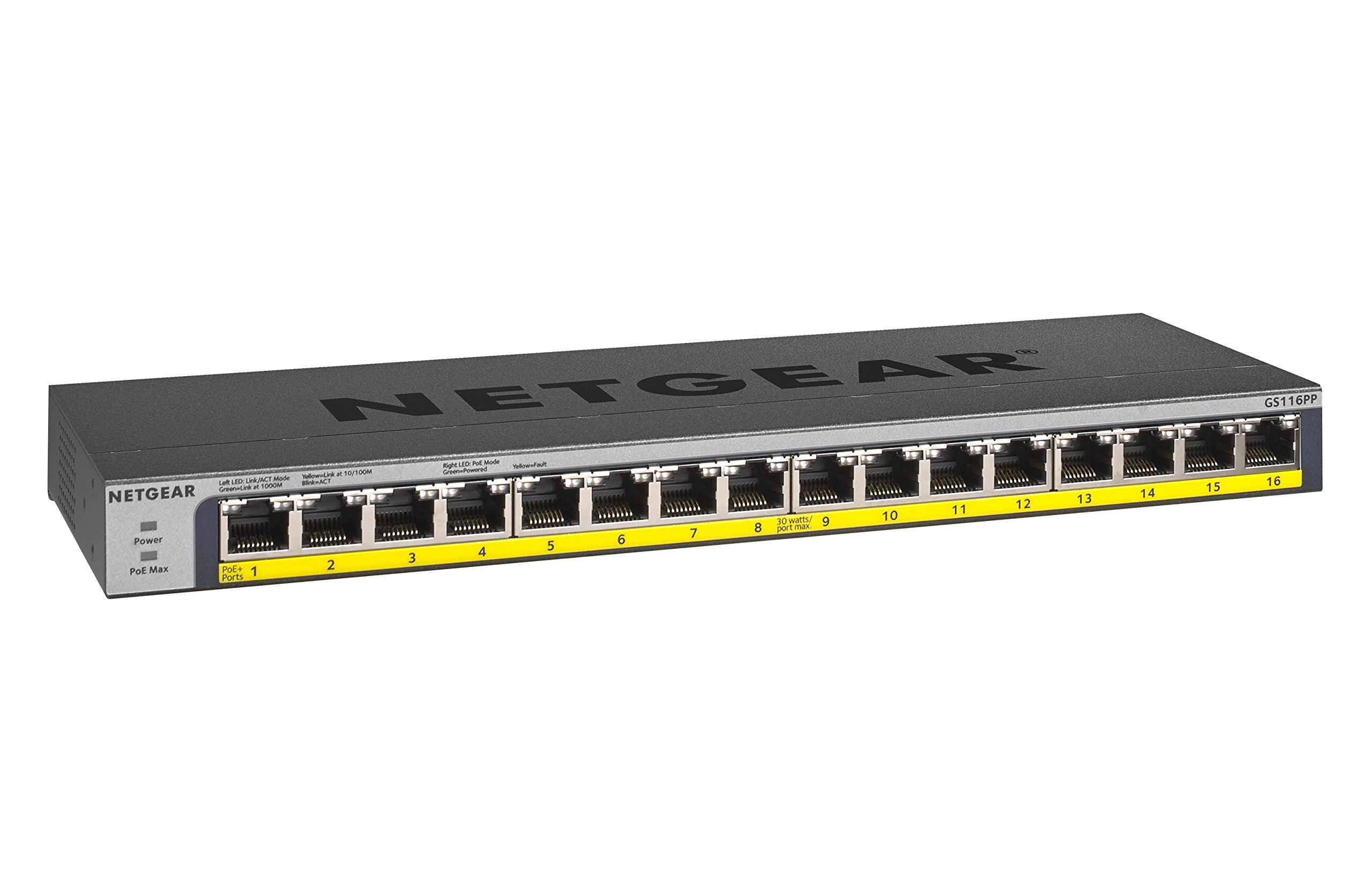 NETGEAR 16-Port Gigabit Ethernet Unmanaged PoE Switch (GS116PP) - with 16 x PoE+ @ 183W, Desktop/Rackmount, and ProSAFE Limited Lifetime Protection by NETGEAR