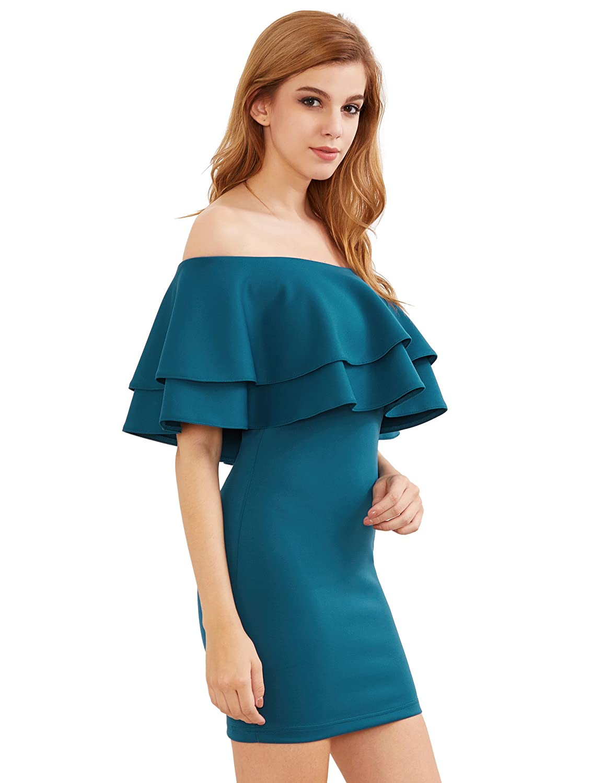 MakeMeChic Women\'s Off Shoulder Ruffle Mini Party Dresses Tight ...