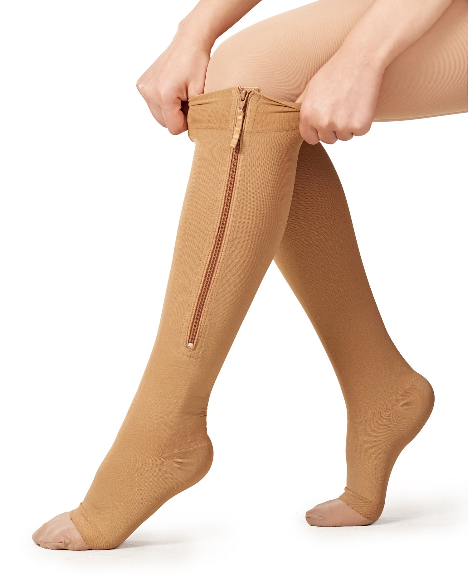 UNCONFINE Zipper Compression Socks Open Toe & Medical and Easy On Off with 10-30 mmHg for Varicose Veins,Edema,Swollen Sore Legs