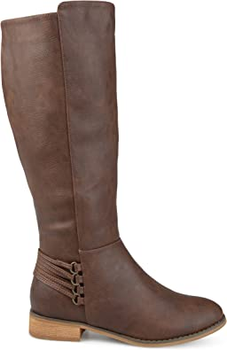 10 Wide Calf US Brinley Co Comfort Womens Strap Riding Boot Brown