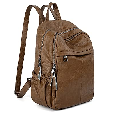 4bd807f2b9e5 UTO Women Backpack Purse PU Washed Leather Daily Wear Ladies Rucksack  Shoulder Bag with Cute Bear Pendant Brown  Amazon.in  Shoes   Handbags