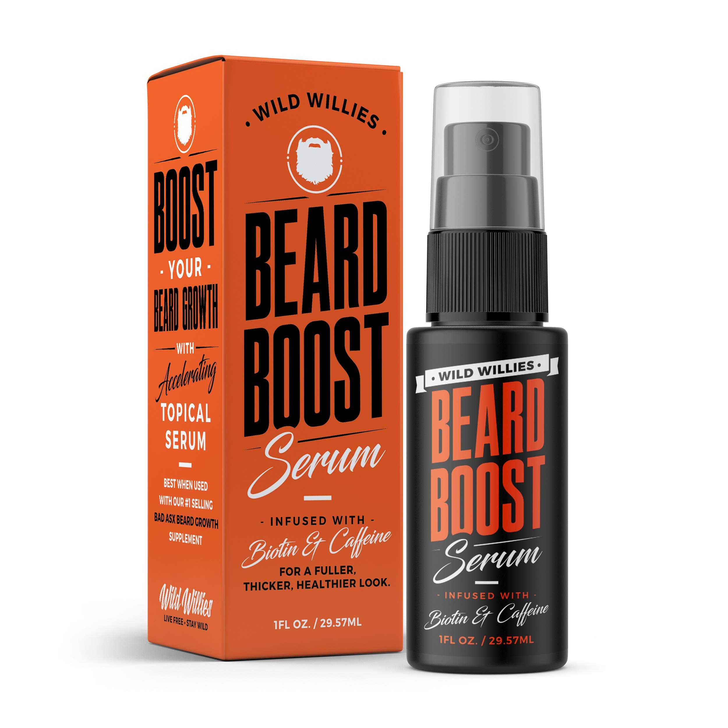 Beard Growth Serum with Biotin & Caffeine – Naturally Powerful, Full, Thick, Masculine Facial Hair Treatment infused with Biotin and Caffeine for Men by Wild Willies