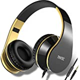 Tintec Over Ear Headphones, Wired HiFi Stereo Headset, Heavy Deep Bass, Folding Lightweight, Noise Isolation, with Built-in Mic for iPhone, iPad, Smartphone, Laptop (Black/Gold)