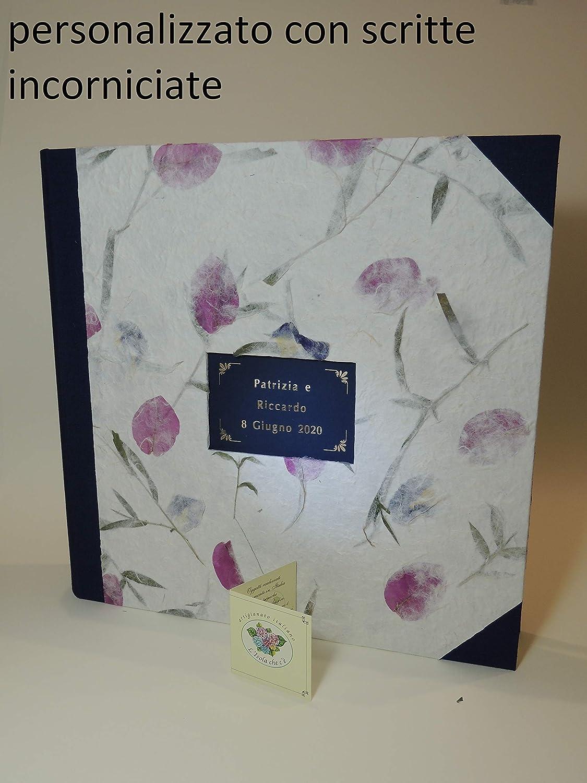Album de fotos a mano Matrimonio con su Caja 33x33 - PERSONALIZABLE con NOMBRES y FECHA- 50 hojas - Papel Natural con Flores: Amazon.es: Handmade