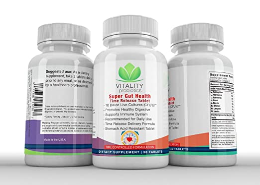 Amazon.com: Probiotic Super Gut Health (Time Release Tablet) 10 Billion Live Cultures CFUs**/ Serving: Health & Personal Care
