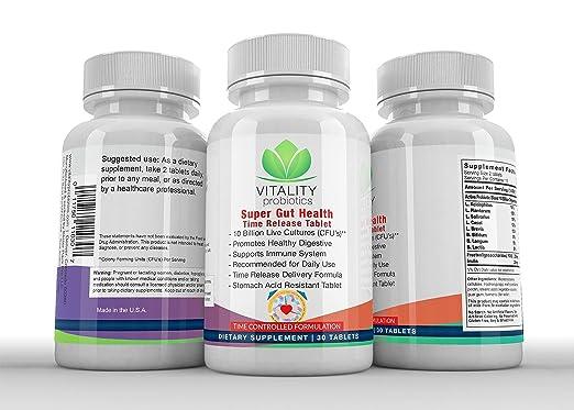 Amazon.com: Probiotic Super Gut Health (Time Release Tablet) 10 Billion Live Cultures CFUs**/ Serving: Health & Personal Care