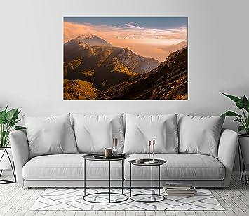 Kraska Beautiful Mountain Sunset Art Print Wall Decor Image Self Adhesive
