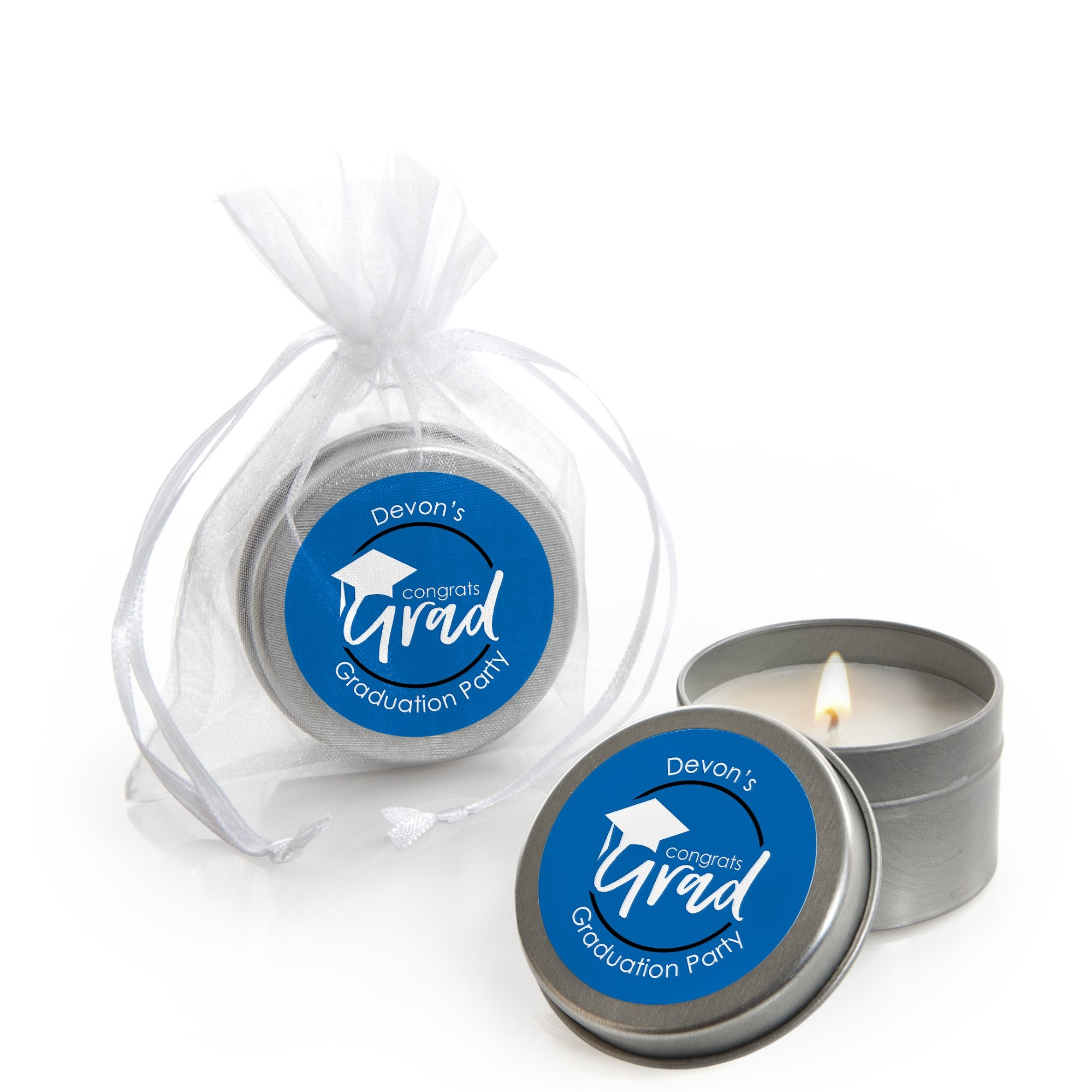 Personalized Blue Grad - Best is Yet to Come - Custom Candle Tin Royal Blue Graduation Party Favors - Custom Text - Set of 12