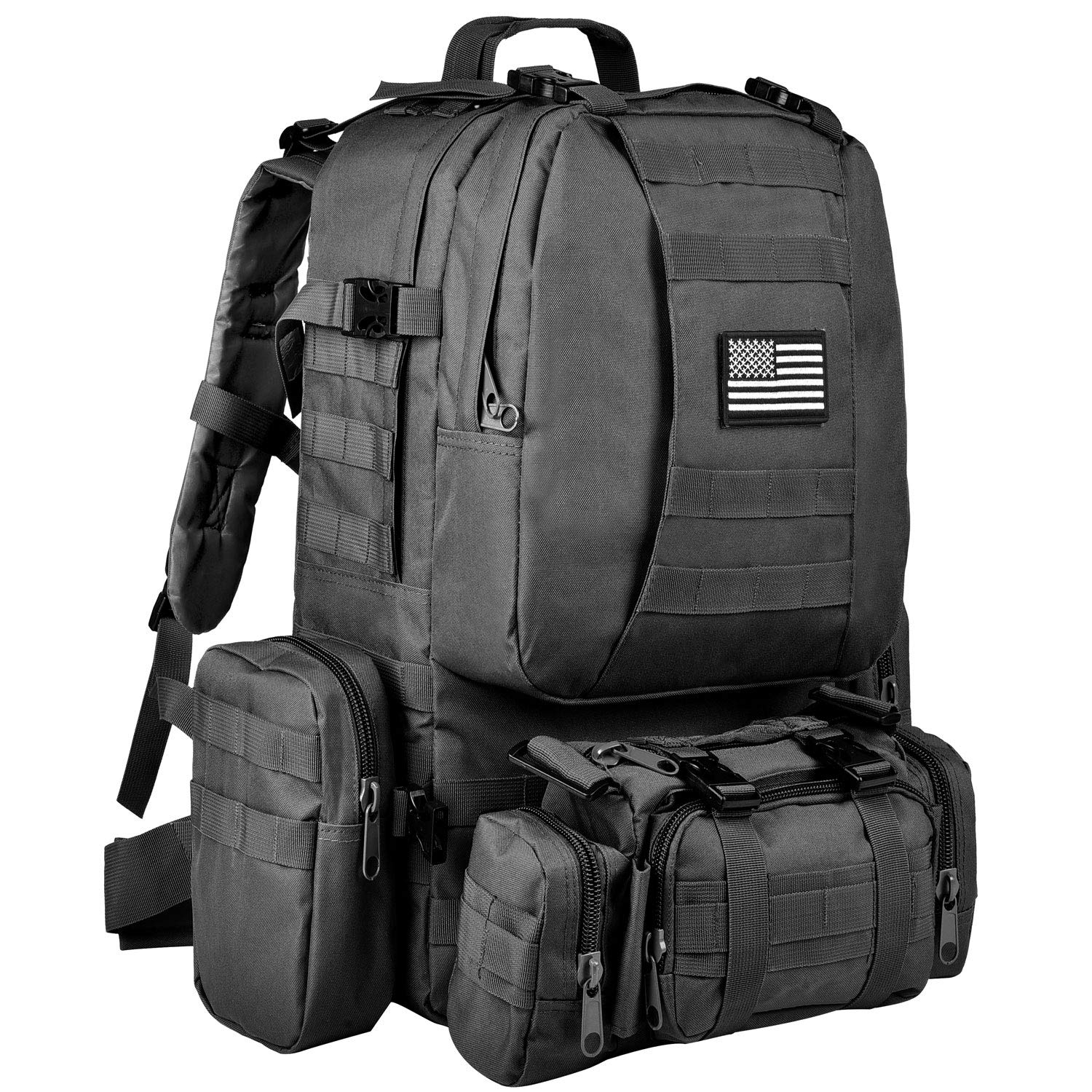 CVLIFE Tactical Military Backpack 60L Built-up Army Rucksacks Outdoor 3 Day Assault Pack Combat Molle Backpack for Hunting Hiking Fishing with Flag Patch Black by CVLIFE (Image #1)