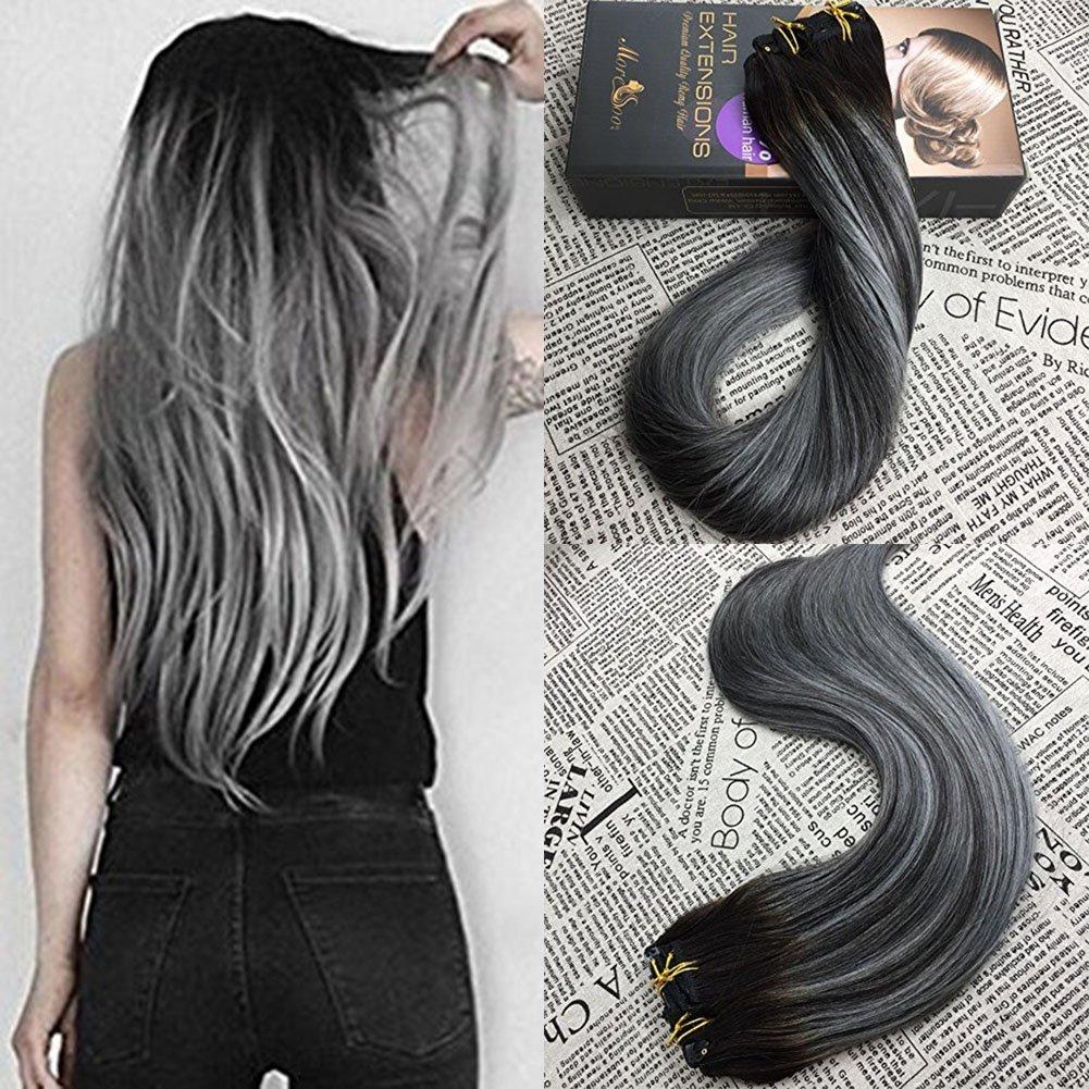 Amazon Moresoo 16 Inch Clip In Human Hair Extensions Balayage
