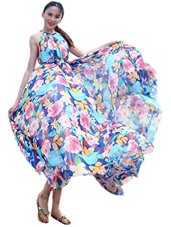 58bdd3d69d0 Medeshe Women s Floral Holiday Summer Beach Lightweight Sundress Maxi Dress  Bridesmaid (Length  115cm)
