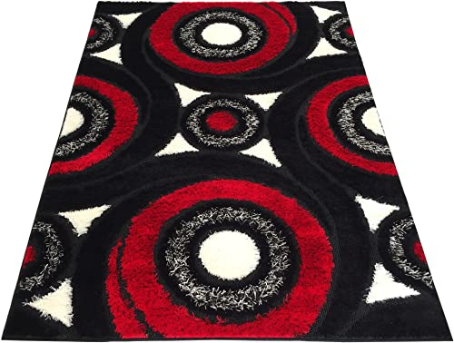 RugStylesOnline Royal Collection Black Red White Swirl Contemporary Design Shaggy Area Rug 6063 3 x7