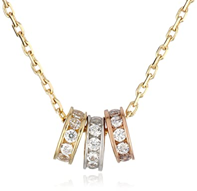 Amazon 14k tricolor gold three circle cubic zirconia pendant 14k tricolor gold three circle cubic zirconia pendant necklace 16quot aloadofball Image collections