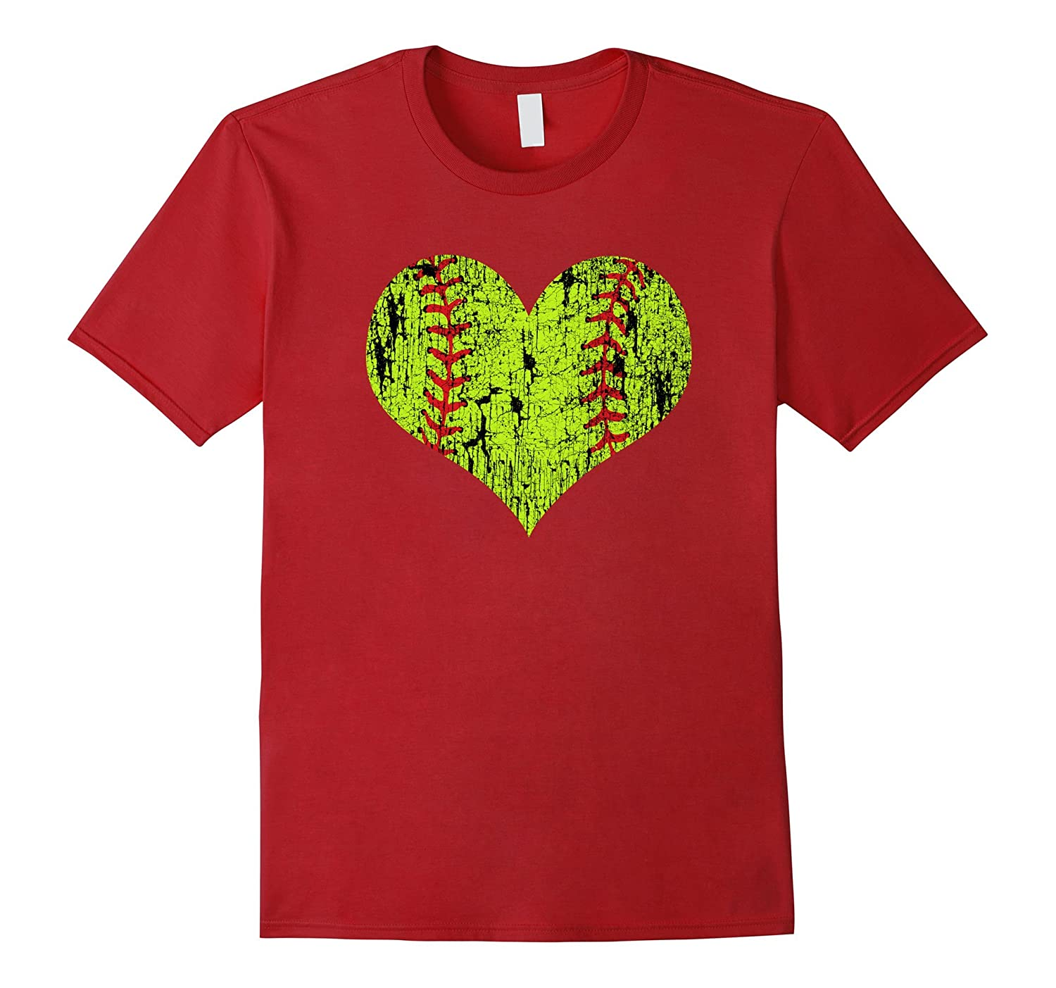 Distressed Love Softball Heart T-Shirt for Girls and Moms-TD