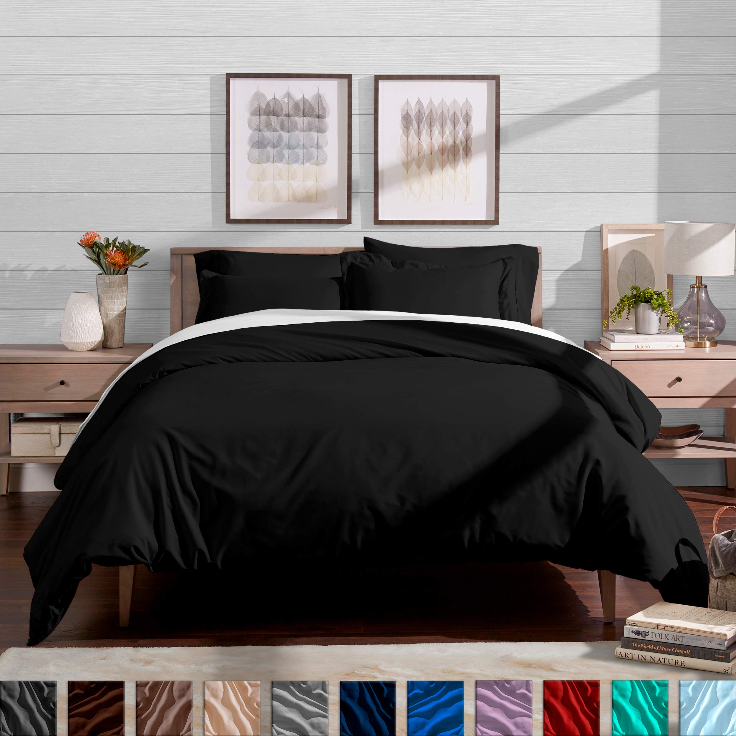 Bare Home Luxury 3 Piece Duvet Cover and Sham Set - Full/Queen - Premium 1800 Ultra-Soft Brushed Microfiber - Hypoallergenic, Easy Care, Wrinkle Resistant (Full/Queen, Black) by Bare Home (Image #1)