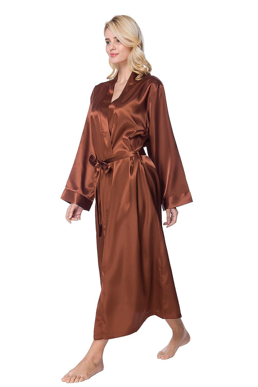 Long Lightweight Kimono Robe S-Forest Womens Silk Satin Lounge Bathrobe