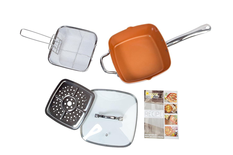 Nuovva - Juego de sartenes cuadrados de cobre antiadherente de doble cara con tapa, 24 cm, 5 piezas, base de inducción grande, ideal para horno de freír, ...