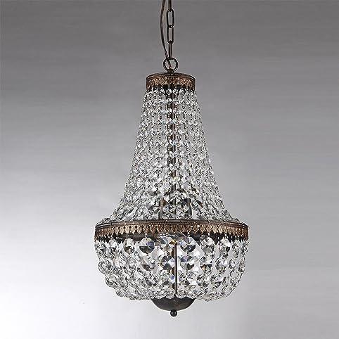 6-light Antique Bronze Crystal Chandelier Pendant Ceiling Fixture - 6-light Antique Bronze Crystal Chandelier Pendant Ceiling Fixture