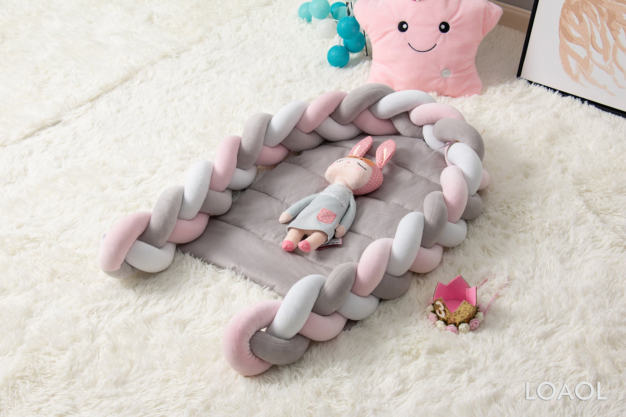 LOAOL Baby Crib Nest Bed Newborn Lounger Sleeper Knotted Braided Infant Nursery Decor Cradle Bumper (White-Gray-Pink, 17.7'' x 23.6'') by LOAOL (Image #2)