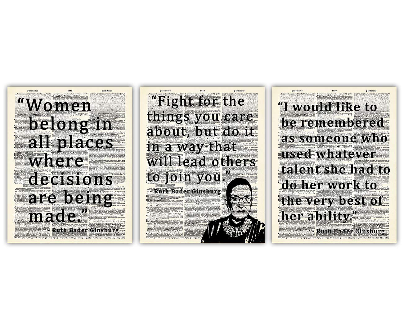 Ruth Bader Ginsburg Wall Art Prints: Unique Room Decor - Set of Three (8x10) Unframed Pictures - Great Motivational Gift Idea Under $20