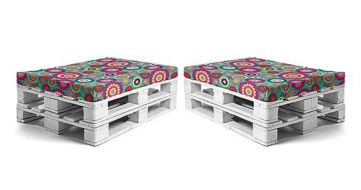 SUENOSZZZ - Pack 2 colchonetas para Sofas de Palet. Cojin Relleno con Espuma, Loneta HP Mandala Turquesa | Cojines para Chill out, Interior y ...