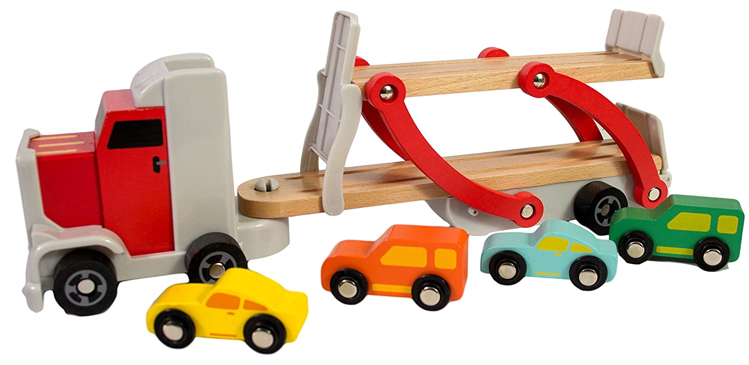 Wooden Car Semi Truck Toy Includes 4 Cars Semi Truck Toy Toy Semi Truck And Trailer Tow Truck Toy