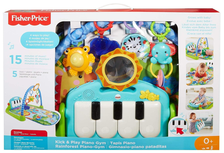Musik und Sounds Fisher-Price Kick /& Play Klavier-Spielmatte f/ür Neugeborene mit Spielzentrum geeignet ab Geburt