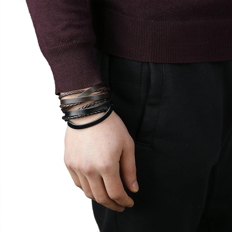 FIBO Steel 10-12 Pcs Braided Leather Bracelets for Men Women Cuff Bracelet,Adjustable