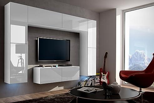 FUTURE 3 Zeitnah Wohnwand Wohnzimmer Möbelset Anbauwand Schrankwand Möbel  Set Gratisverand Hochglanz Weiß Schwarz LED RGB