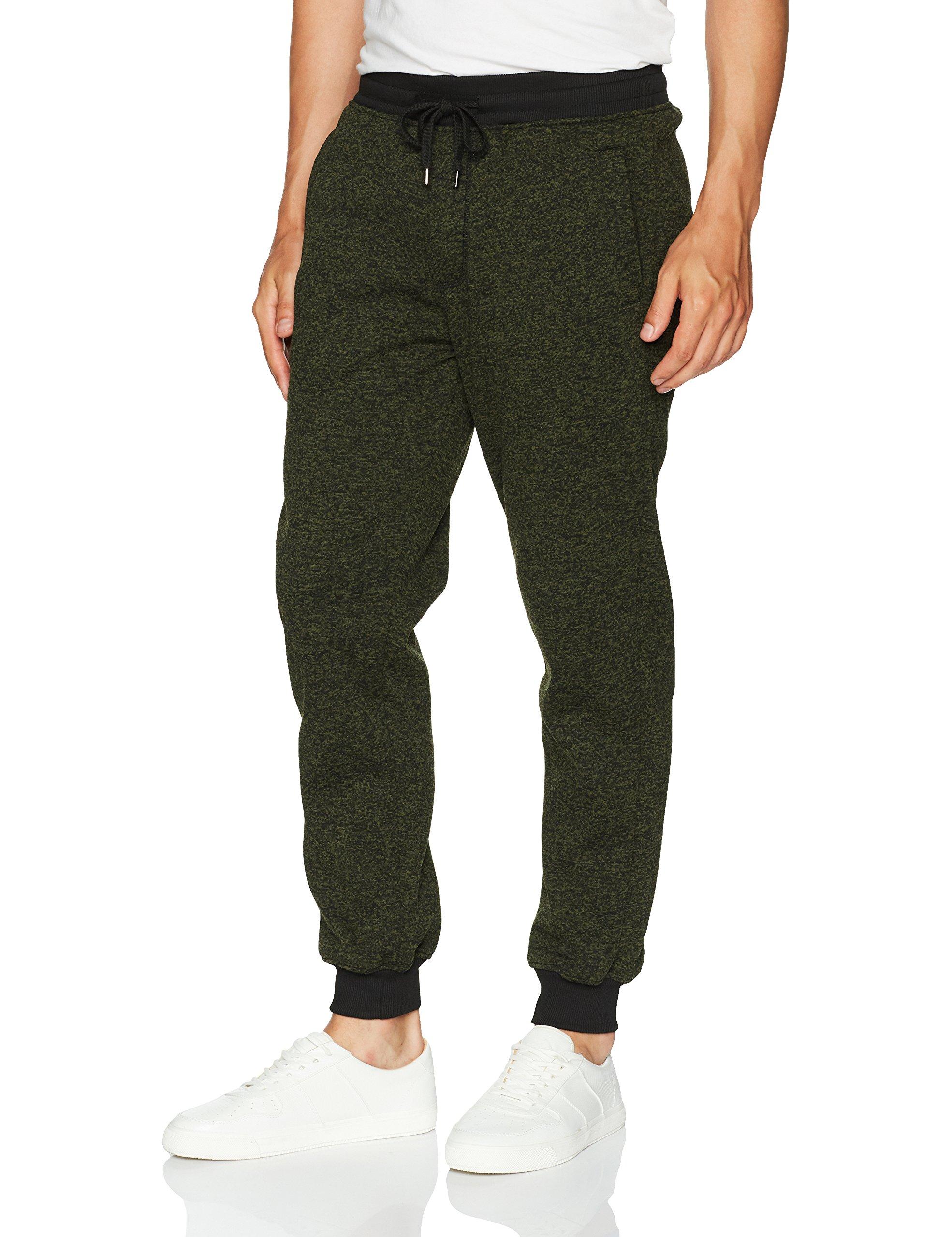 Southpole Men's Basic Fleece Marled Jogger Pant, Olive(Marled), Large
