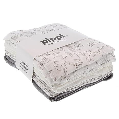 Paquete de 8 pañales unisex para bebé de Pippi, varios diseños, algodón, talla