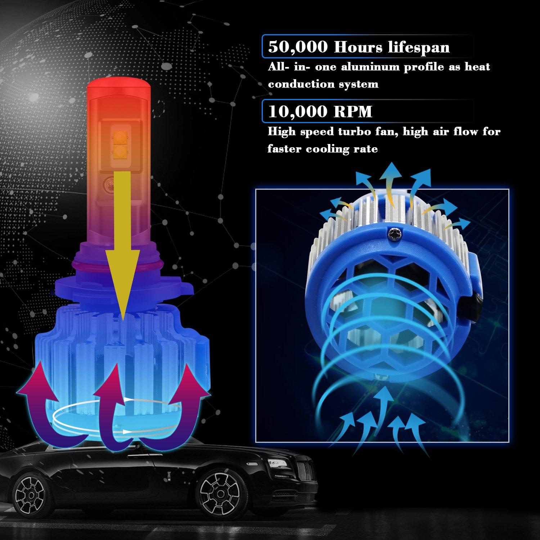 9006 (HB4) Faros Delanteros Kit de conversión - Win Power- 12V Autos Bombillas 7200lm 70W 6000K Luz de niebla Blanca Fría - 2 Uds: Amazon.es: Coche y moto