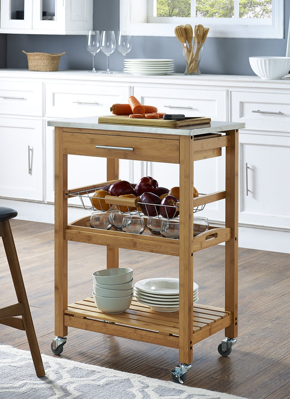Amazon.com - Boraam 50651 Aya Bamboo Kitchen Cart with Stainless ...