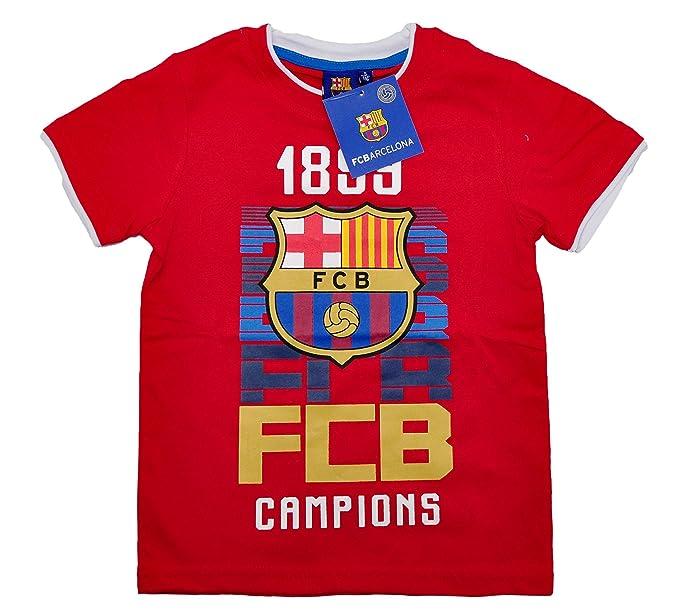 FCB 100% con Licencia Oficial FC Barcelona Camiseta de Manga Corta tee para  Niños Kids  464e42d8c31