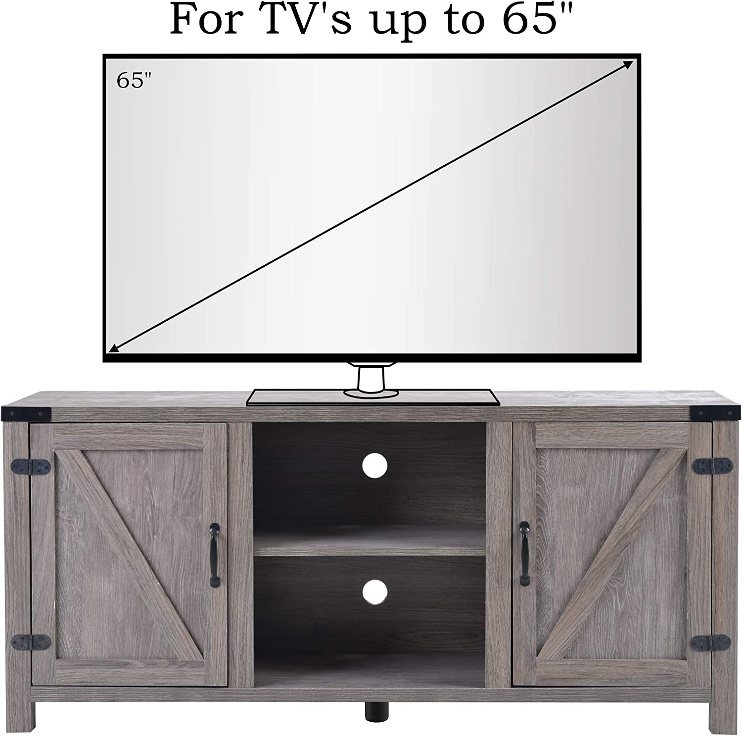 Moderion Farmhouse Style 58 inches TV Stand Media Console with Adjustable Shelves,Cabinet Doors and Cable Management(Oak)