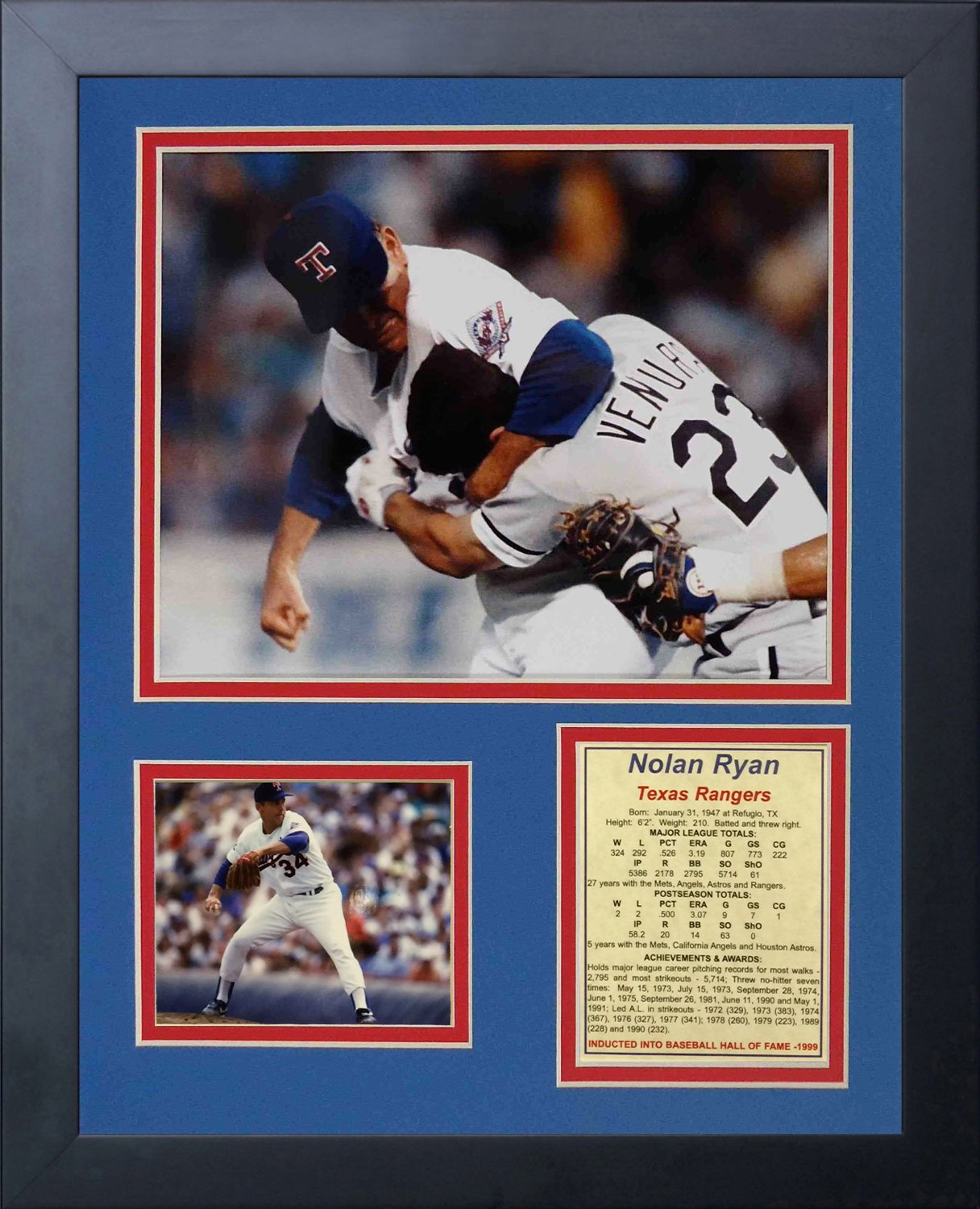 11 by 14-Inch Legends Never Die Nolan Ryan Fight Framed Photo Collage