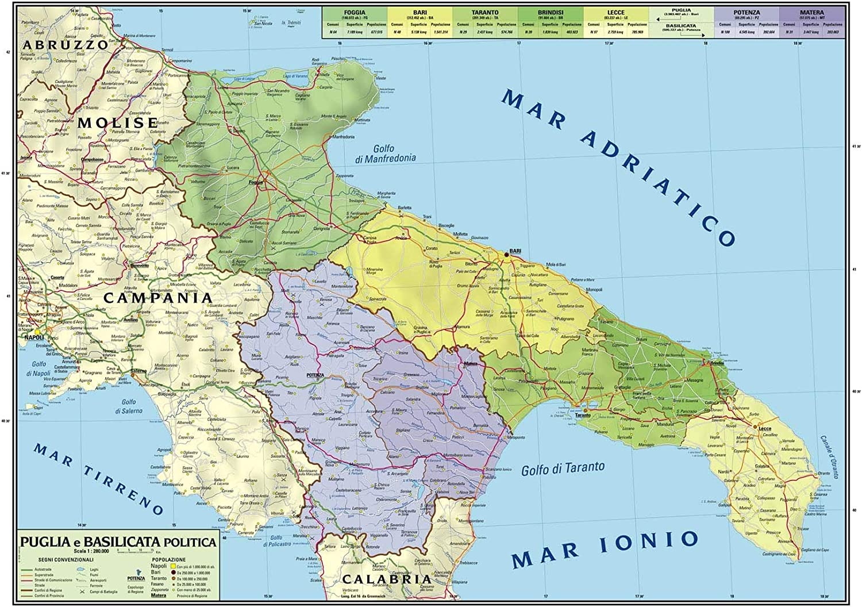 Cartina Topografica Puglia.Carta Geografica Murale Regionale Puglia Basilicata 100x140 Bifacciale Fisica E Politica Amazon It Cancelleria E Prodotti Per Ufficio