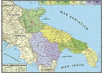 Basilicata Cartina Confini.Carta Geografica Murale Regionale Puglia Basilicata 100x140 Bifacciale Fisica E Politica Amazon It Cancelleria E Prodotti Per Ufficio