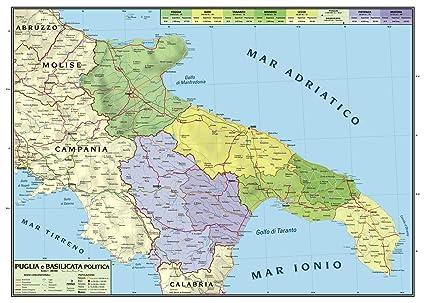 Regione Puglia Cartina Politica.Carta Geografica Murale Regionale Puglia Basilicata 100x140