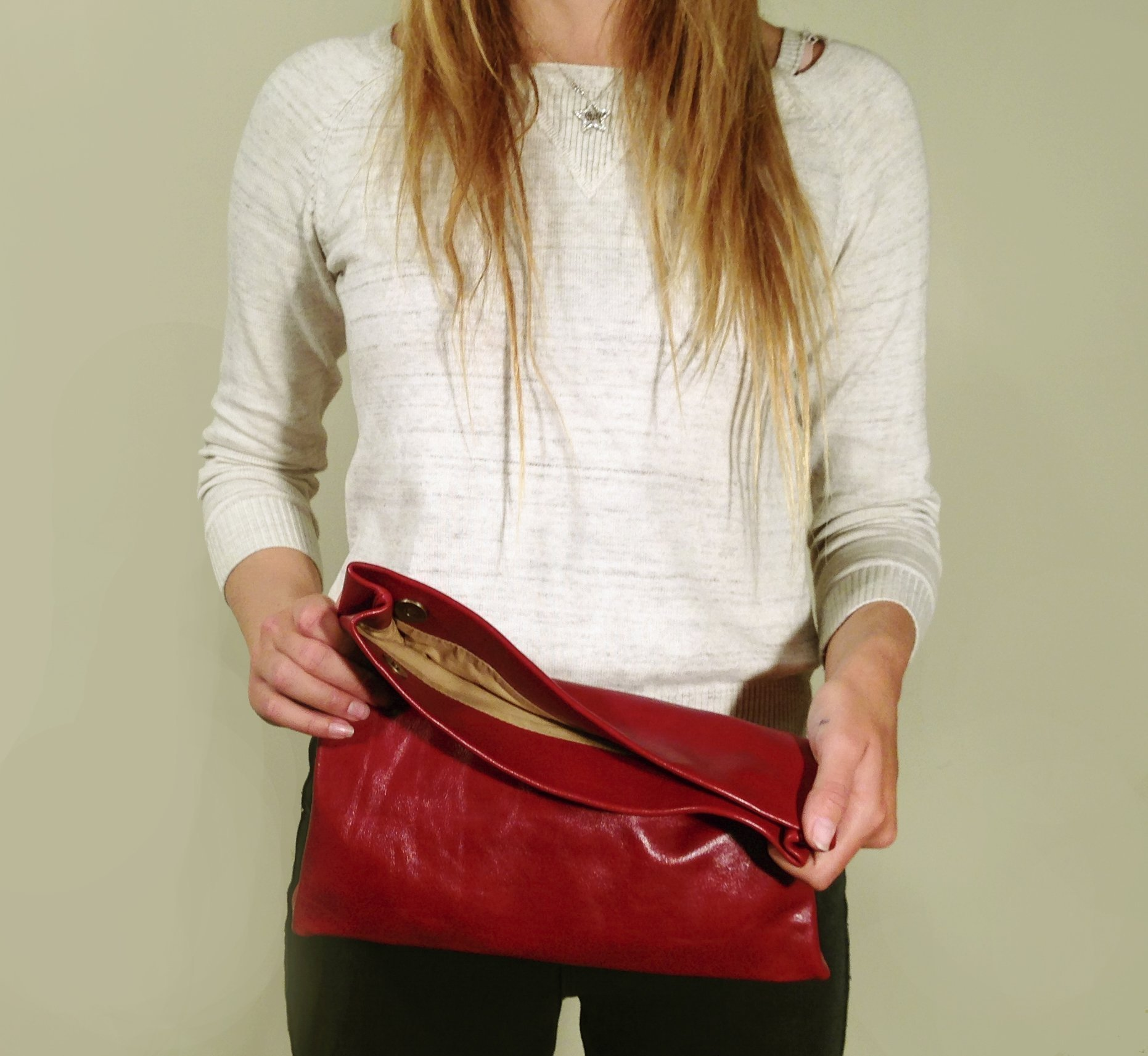 Foldover Glossy Deep Red Leather Clutch purse Handbag bag Shoulder handbag Opt: crossbody strap