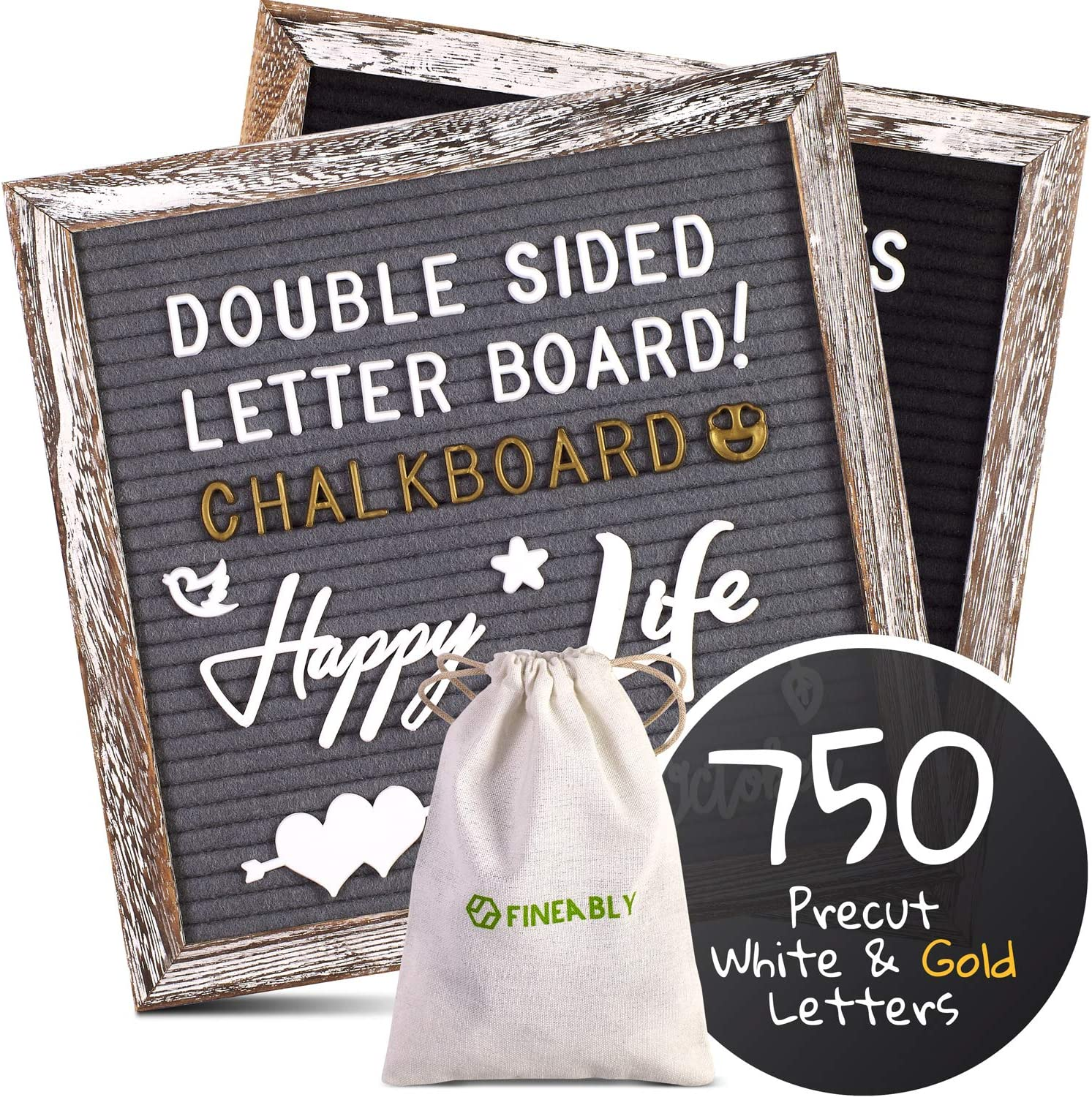 Class Announcements or Cafe Menus Leave Inspiring Messages Dual Sided Felt Letter Board with Letters by Fineably 750 Precut White and Gold Letters Numbers and Emoji Symbols