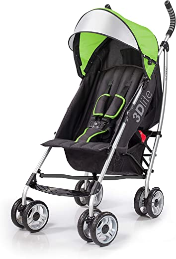 Summer 3Dlite Convenience Stroller, Green – Lightweight Stroller with Aluminum Frame, Large Seat Area, 4 Position Recline, Extra Large Storage Basket – Infant Stroller for Travel and More