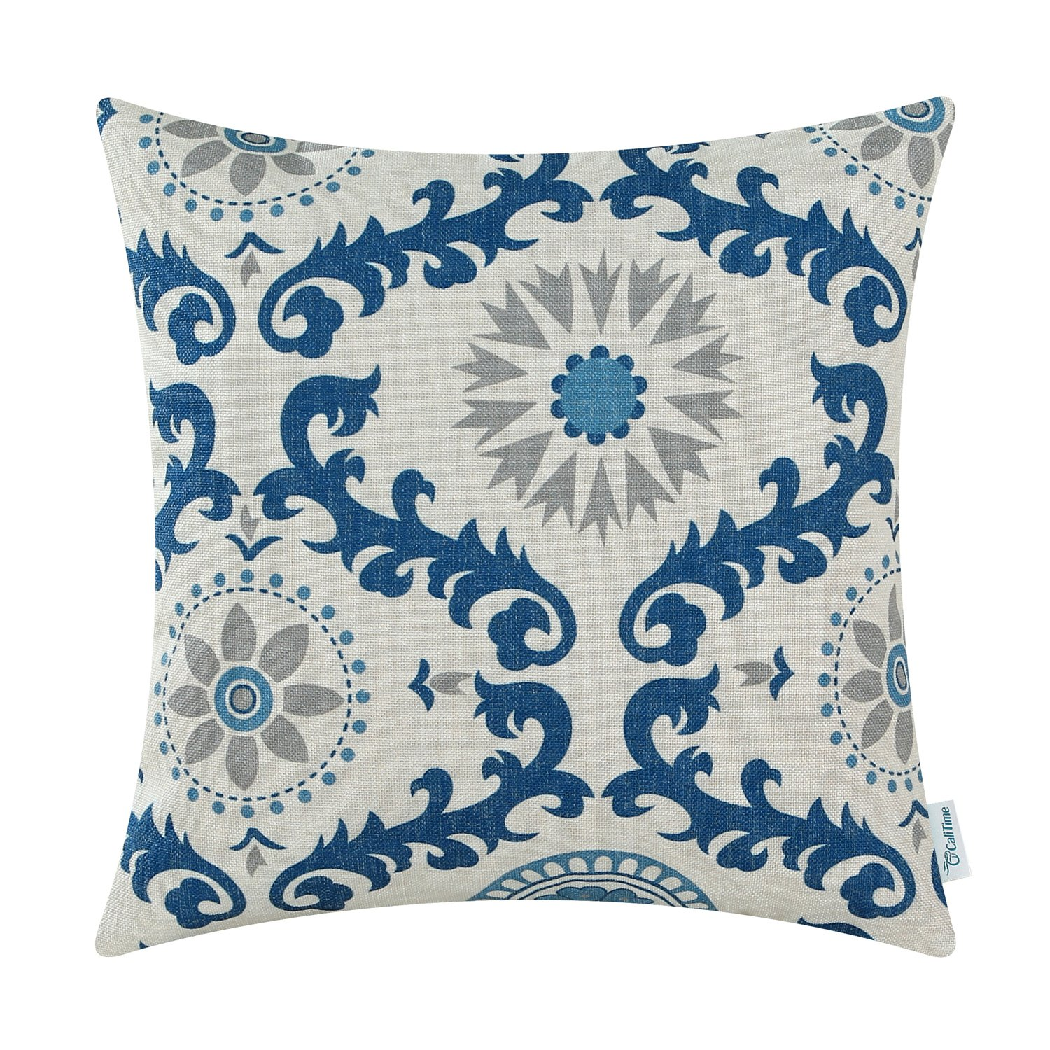 CaliTime Canvas Throw Pillow Cover Case for Couch Sofa Home Decoration Three-Tone Dahlia Floral Compass Geometric 18 X 18 inches Blue/Gray