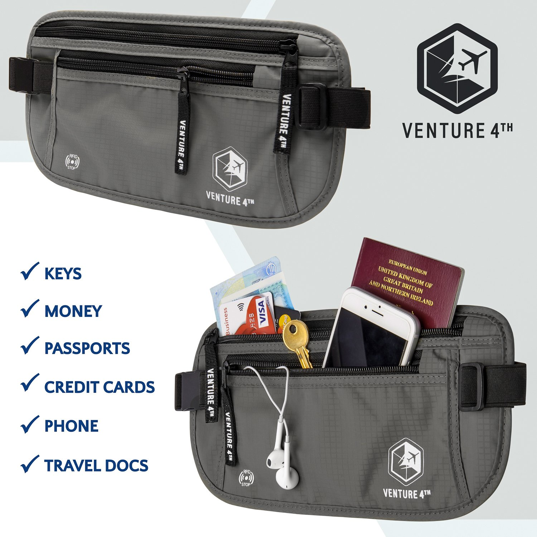 VENTURE 4TH Travel Money Belt - RFID Blocking (Gray - RFID Blocking) by VENTURE 4TH (Image #7)