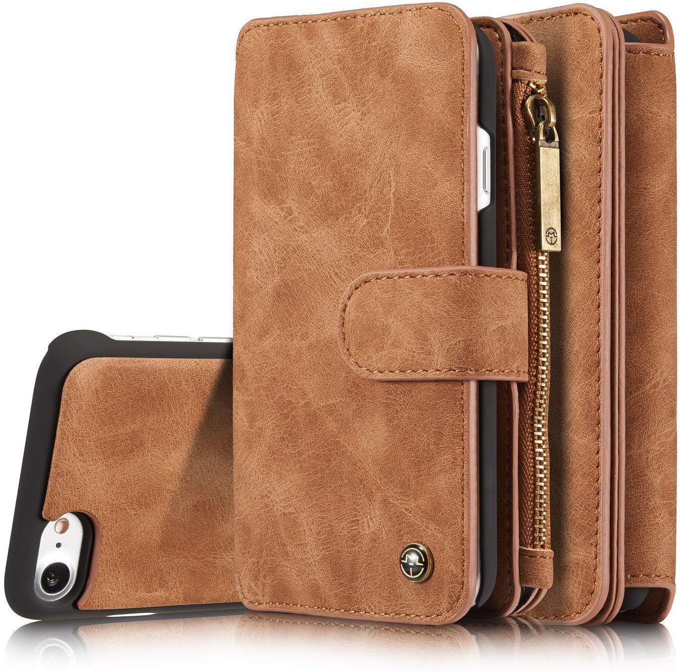 Jennyfly 2019 6.1 inch iPhone 11R Case, Girls Luxury 2-in-1 Protective PU Leather Wallet Case Protective Cover with Card Slots for 2019 iPhone 11R /XIR 6.1 inch - Brown by Jennyfly