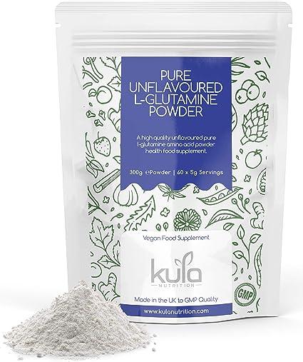 Kula Nutrition L Glutamina en polvo - 300 g (60 porciones) - Aminoácidos en polvo,construcción de proteínas - Reparación muscular, regeneración, salud ...